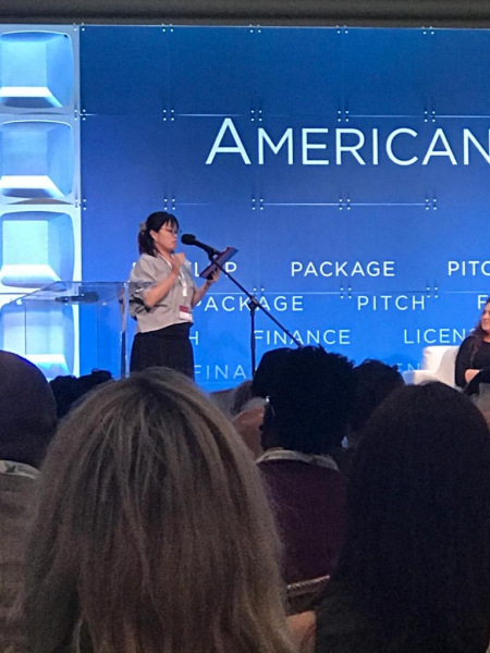 Noriko Yuasa, from Japan, member of LATC delegation, was selected at the AFM Pitch Conference to provide a 2-minute live pitch for the entire audience.