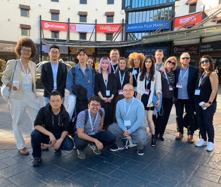The LATC Group in front of the AFM Headquarters, the Loews Hotel in Santa Monica.